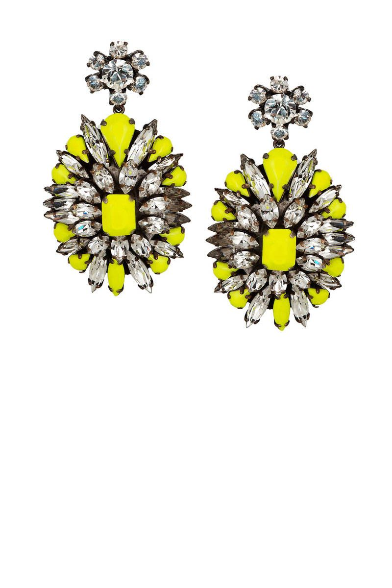 "Shourouk Leitmotif Swarovski Crystal Earrings, $465;  target=""new"">net-a-porter.com   - ELLE.com"