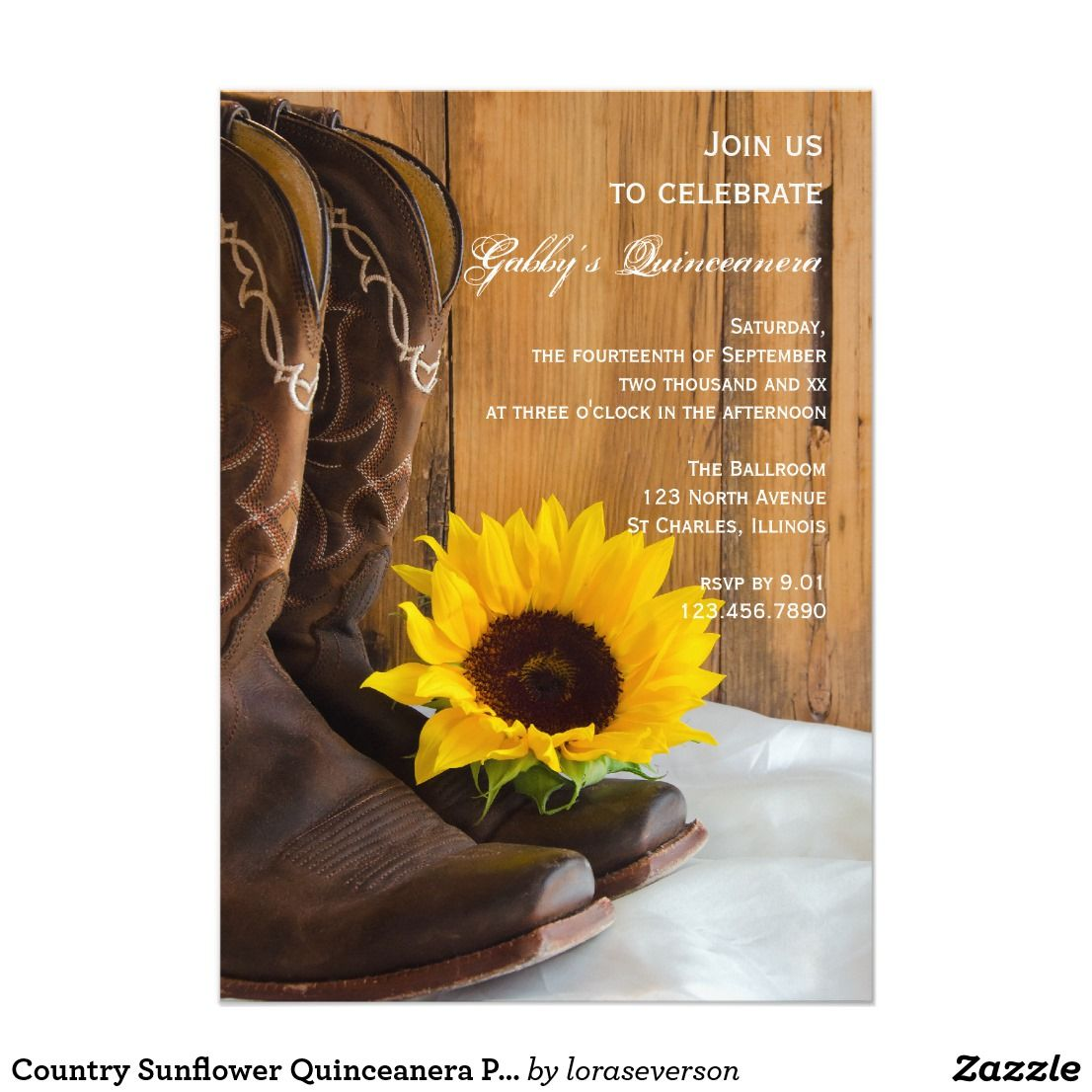 Country Sunflower Quinceanera Party Invitation | Invitations ...