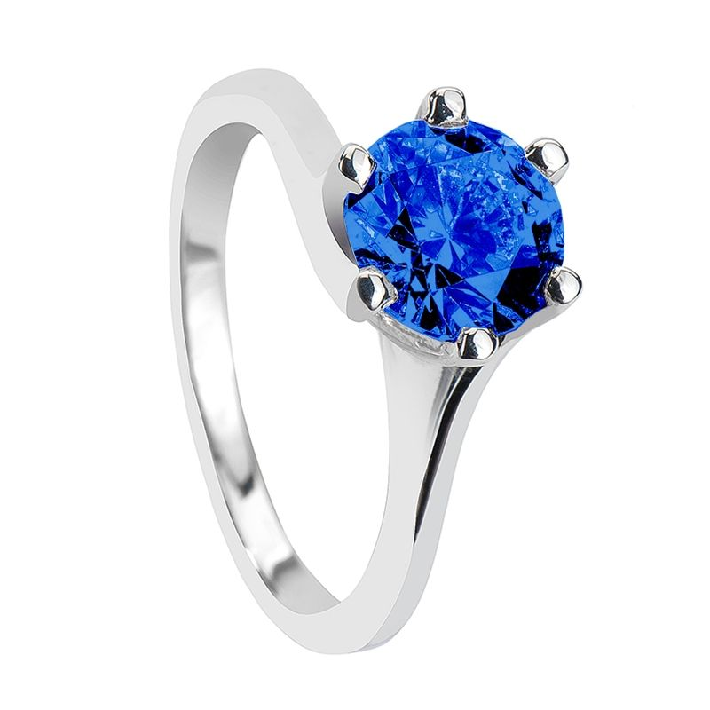 Engagement Rings - LINNA Classic 6 Prong Solitaire Round Blue Sapphire Engagement Ring - LarsonJewelers.com