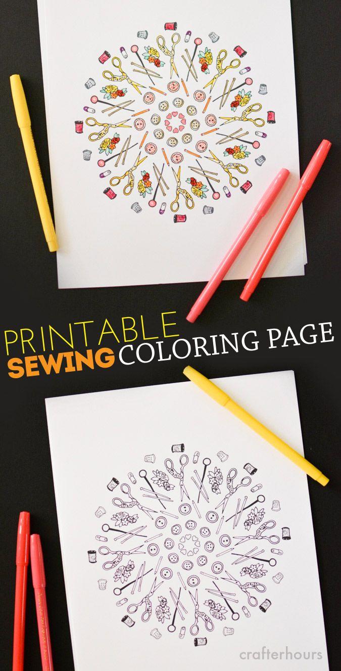 Sewing Coloring Page - Free Printable! | Laminas para colorear ...