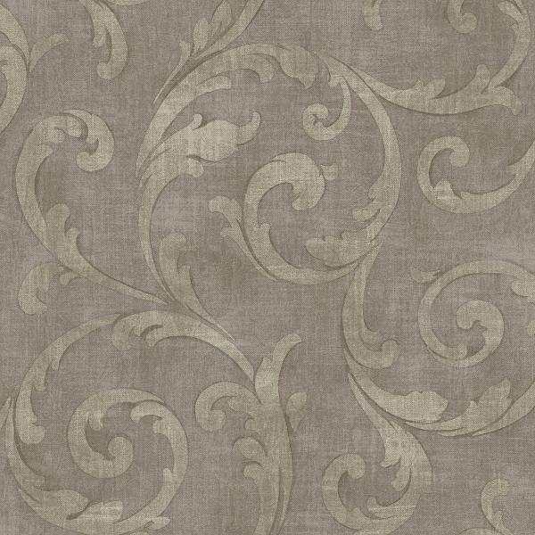 Mauve Large Scroll Wallpaper Wallpaper, Waverly