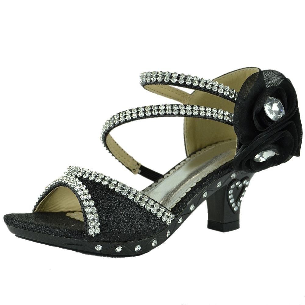 Black sandals rhinestones - Kids Dress Sandals Asymmetrical Rhinestones Heart High Heel Shoes Black
