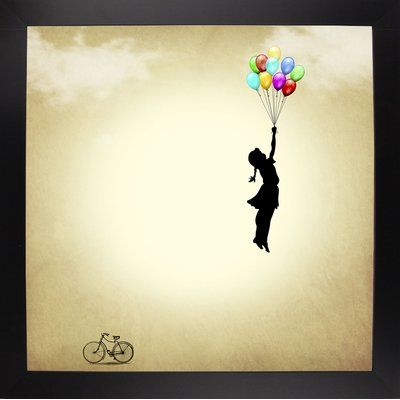 "Zoomie Kids 'Balloon' Graphic Art Print Format: Affordable Black Large Framed Paper, Size: 26.75"" H x 26.75"" W x 2"" D"