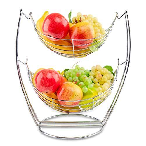 Suanwonwo Fruit Bowl 2 Tier Detachable Metal Fruit Basket Creative