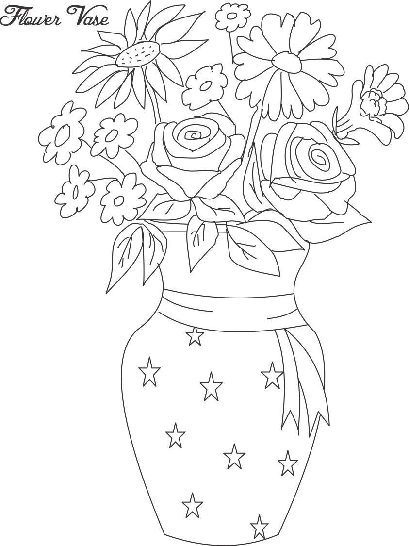 Flower Pot Flower Drawing Coloring Pages Flower Coloring Pages