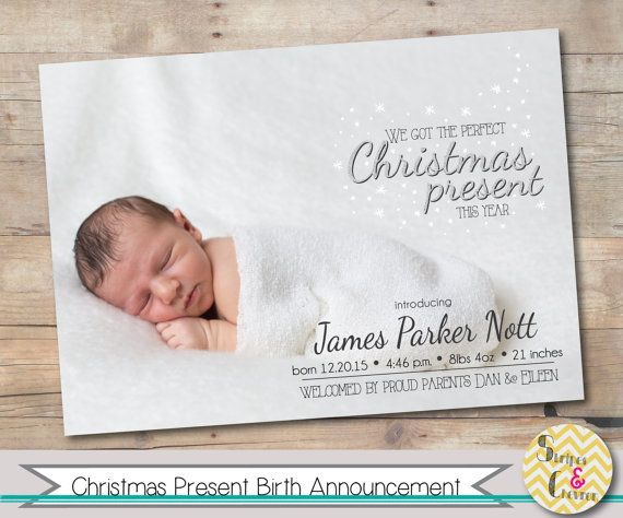 Christmas birth announcement Xmas baby Photo Christmas card – Holiday Birth Announcements