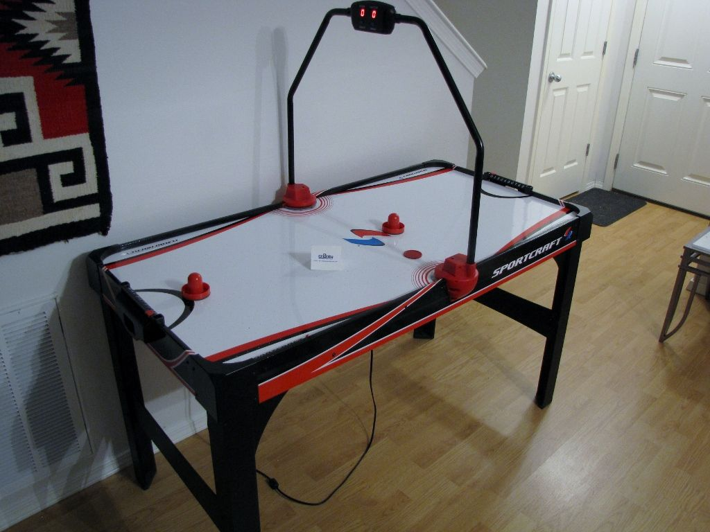 "Here's a lovely kids size air hockey table. They plugged it in at auction and nothing happened. ""Who will take this away for 5 bucks?"" Uh, I will. Replaced the batteries and reconnected the power-switch and voila, profitsville!"