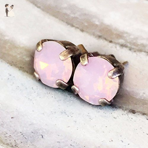 d0d608738 8mm Opalescent Pink Crystal Rhinestone Silver Tone Stud Earrings - Blush  weddings (*Amazon Partner