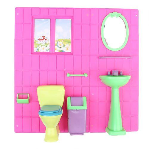 Doll House Furniture Bathroom Set Toilet And Game Time Home