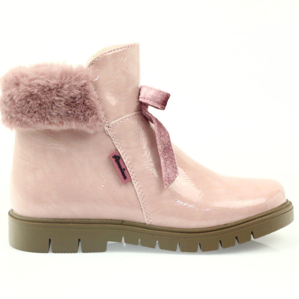 Kozaki Dla Dzieci Americanclub American Club Rozowe Kozaczki Z Futerkiem 18015 Chukka Boots Boots Shoes