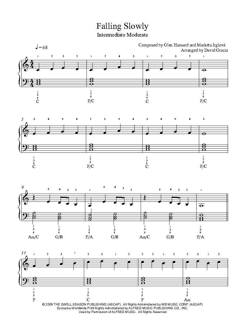 Falling slowly by glen hansard and markta irglov piano sheet falling slowly by glen hansard and markta irglov piano sheet music intermediate hexwebz Gallery