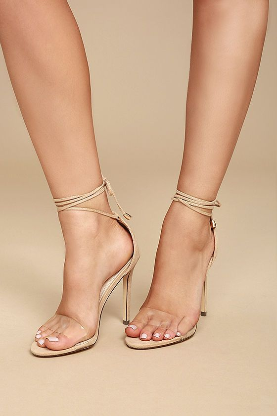 a90ce1398f5 ... favorite trends in one sexy shoe ... the Ledah Nude Suede Lace-Up Heels!  Velvety vegan suede starts at a peep-toe upper (with a clear