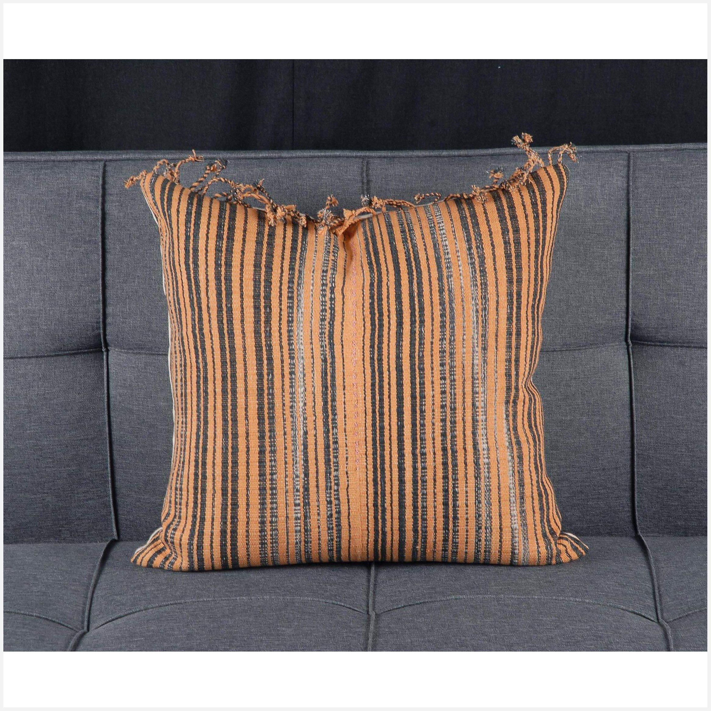 Karen Hmong fabric ethnic throw cushion tribal decorative square pillow 19 in hand woven cotton orange black natural organic dye tassel SD48