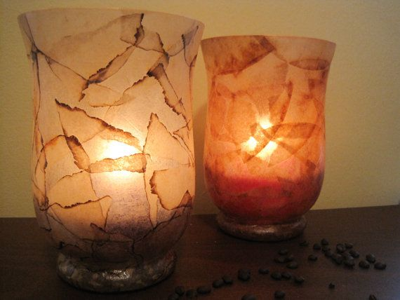 Large COFFEE FILTER Rustic Glass Candle Holder By Lampada On Etsy