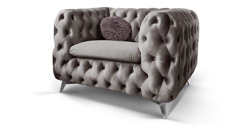 Chesterfield Sessel Samt Silber Grau Emma 1 Sitzer Knopfheftung Chesterfield Sessel Chesterfield Mobel Couchgarnitur