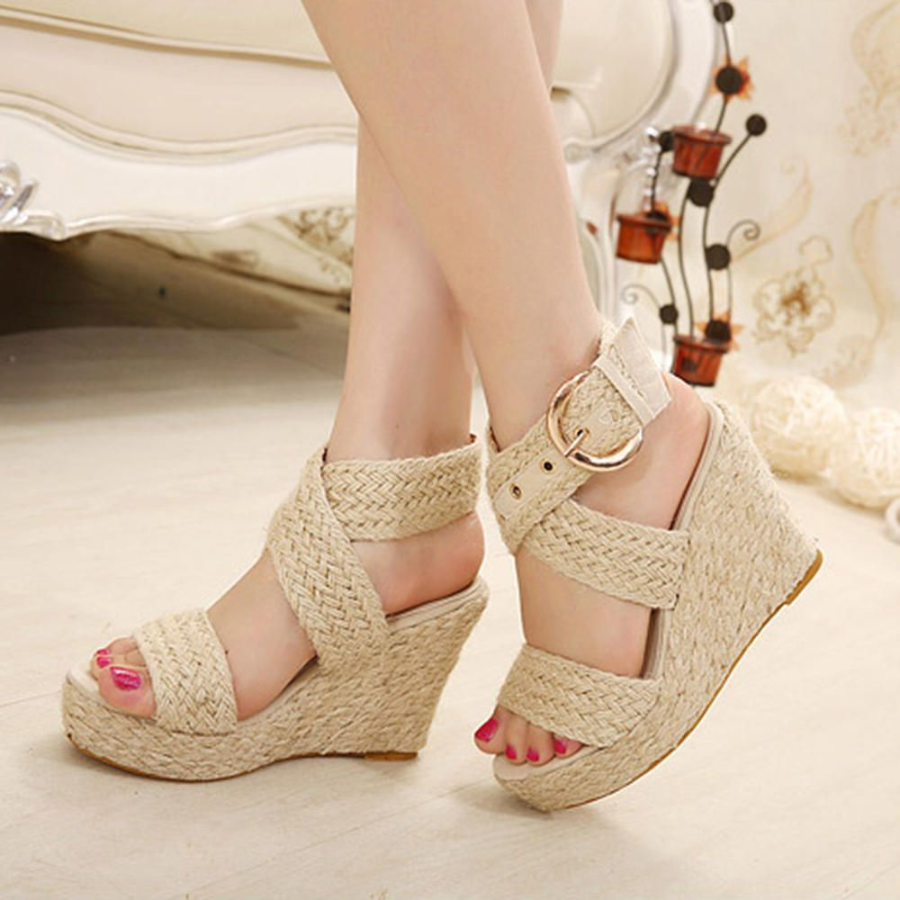 Large Size Wedge Sandals women in 2019 | Wedge sandals