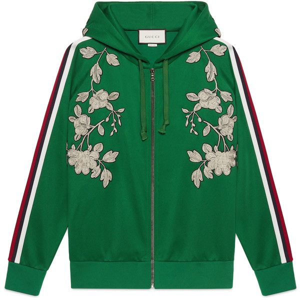 58a57835a Gucci Embroidered Jersey Sweatshirt (47,795 MXN) ❤ liked on Polyvore  featuring tops, hoodies, sweatshirts, sweaters, jackets, outerwear, green,  ...
