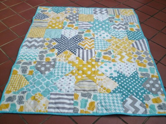 Baby quilttealaquagreyyellowPatchwork Crib by happyquilts on Etsy