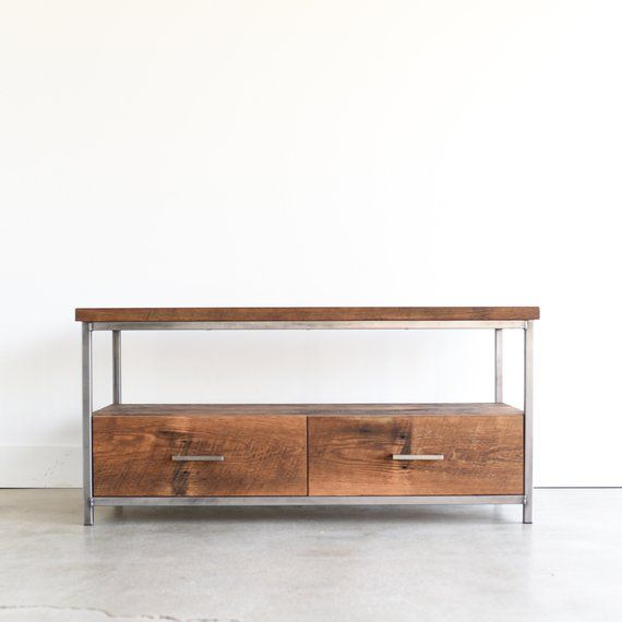 Reclaimed Wood Tv Stand Industrial Media Console Home Decor