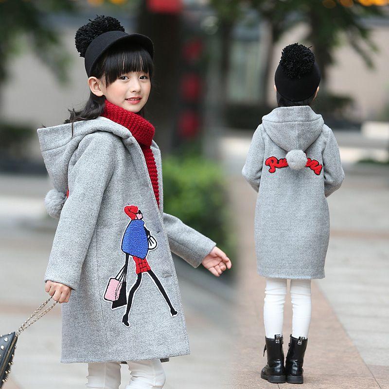 e2808950e Girls Wool Coat 2018 Korean Autumn Winter Clothes Children Thick ...