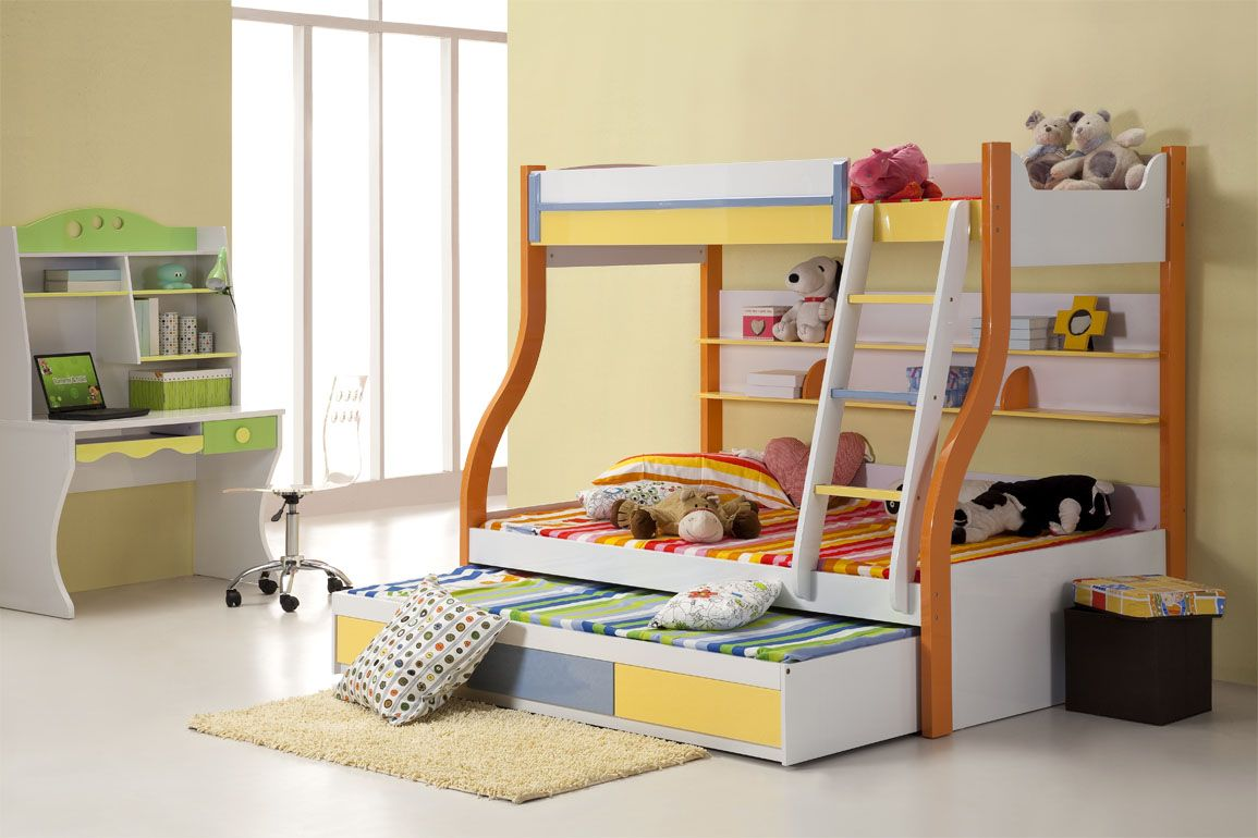 Lovely Awesome Bunk Bed Design For Triplets With Striped Bedding Also Adorable  Study Desk In Minimalist Childrens Bedroom Interior Ideas With Beige Wall  Paint: ... Part 28