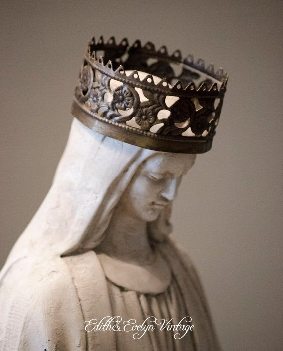 Vintage White Madonna Statue Virgin Mary