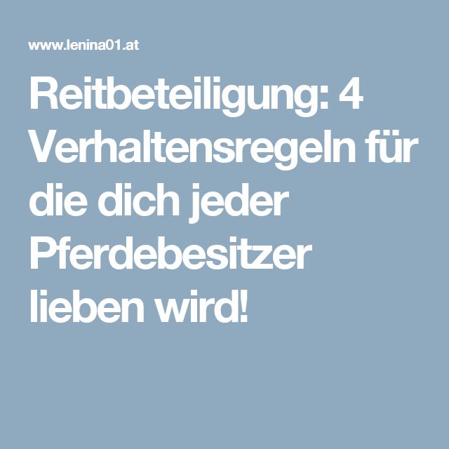 Reitbeteiligung: 4 Verhaltensregeln für die dich jeder ...