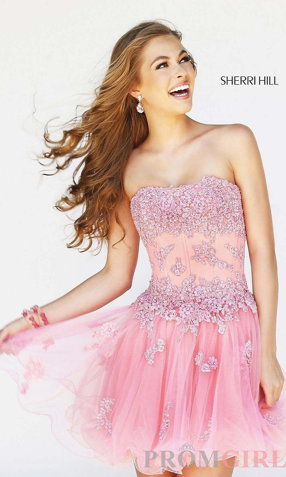 Strapless Short Prom Dress, Lace Corset Party Dresses- PromGirl ...