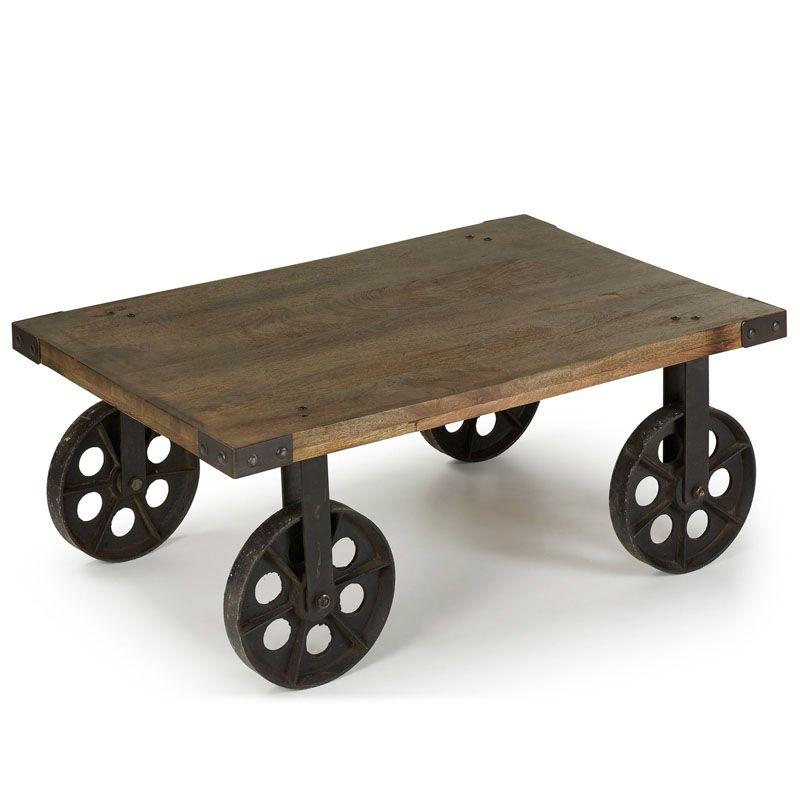 mesa de centro ruedas hierro y madera must try