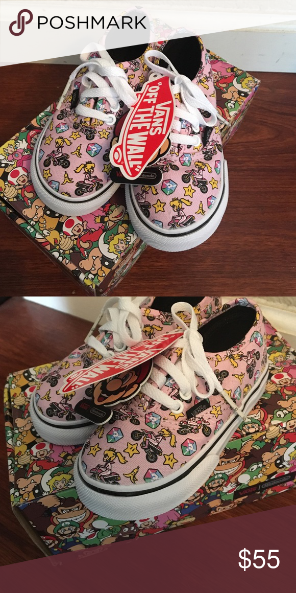 d58d8802eb Vans Nintendo toddler Mario kart shoes New with tags MSRP  65 Princess peach  new in box Vans authentic toddler size 6.5 Vans Shoes Sneakers