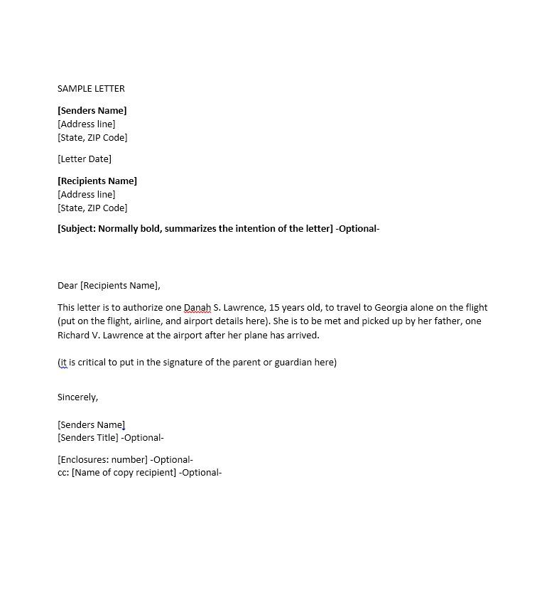 Authorization Letter Microsoft Word Consent Minor  Home Design