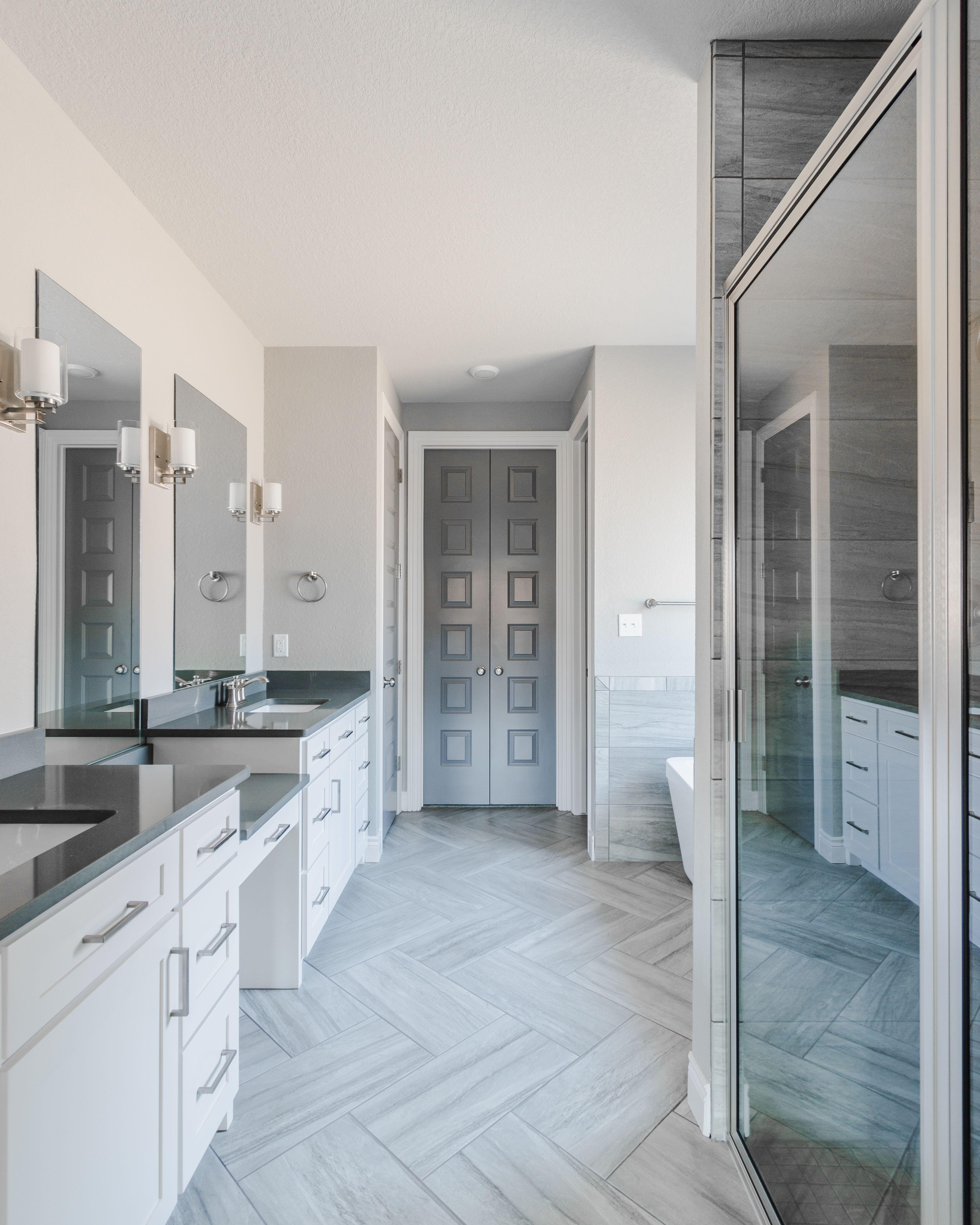 Gray Modern Master Bathroom With Herringbone Tile Floor Herringbone Tile Floors Modern Master Bathroom Herringbone Tile
