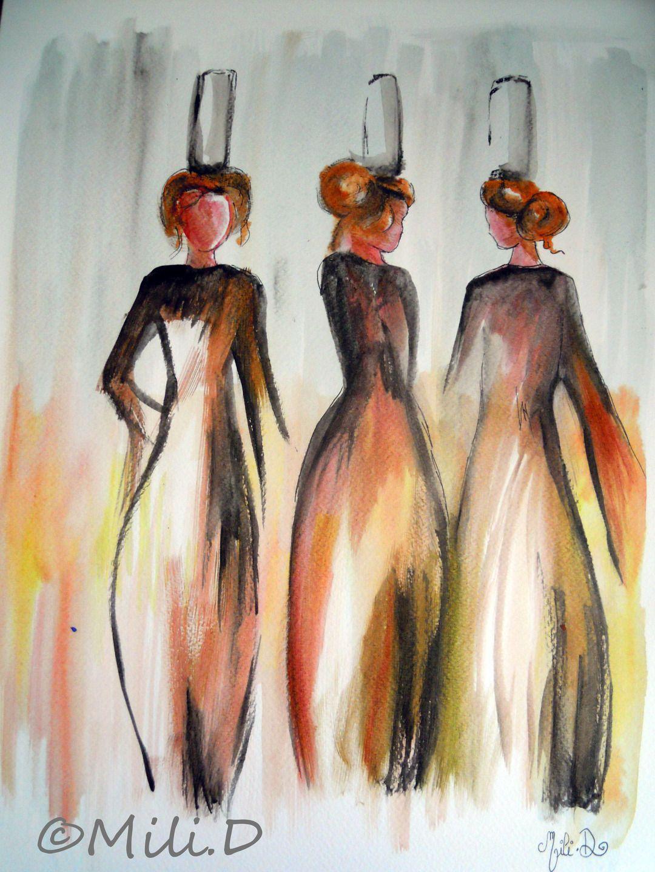 Aquarelle Les Trois Bigoudenes Sur Papier Peintures Par Milid