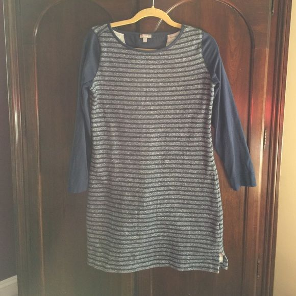 Talbots dress Super comfy blue and grey striped dress from Talbots. Body is sweatshirt type material and arms are tee shirt like. Talbots Dresses