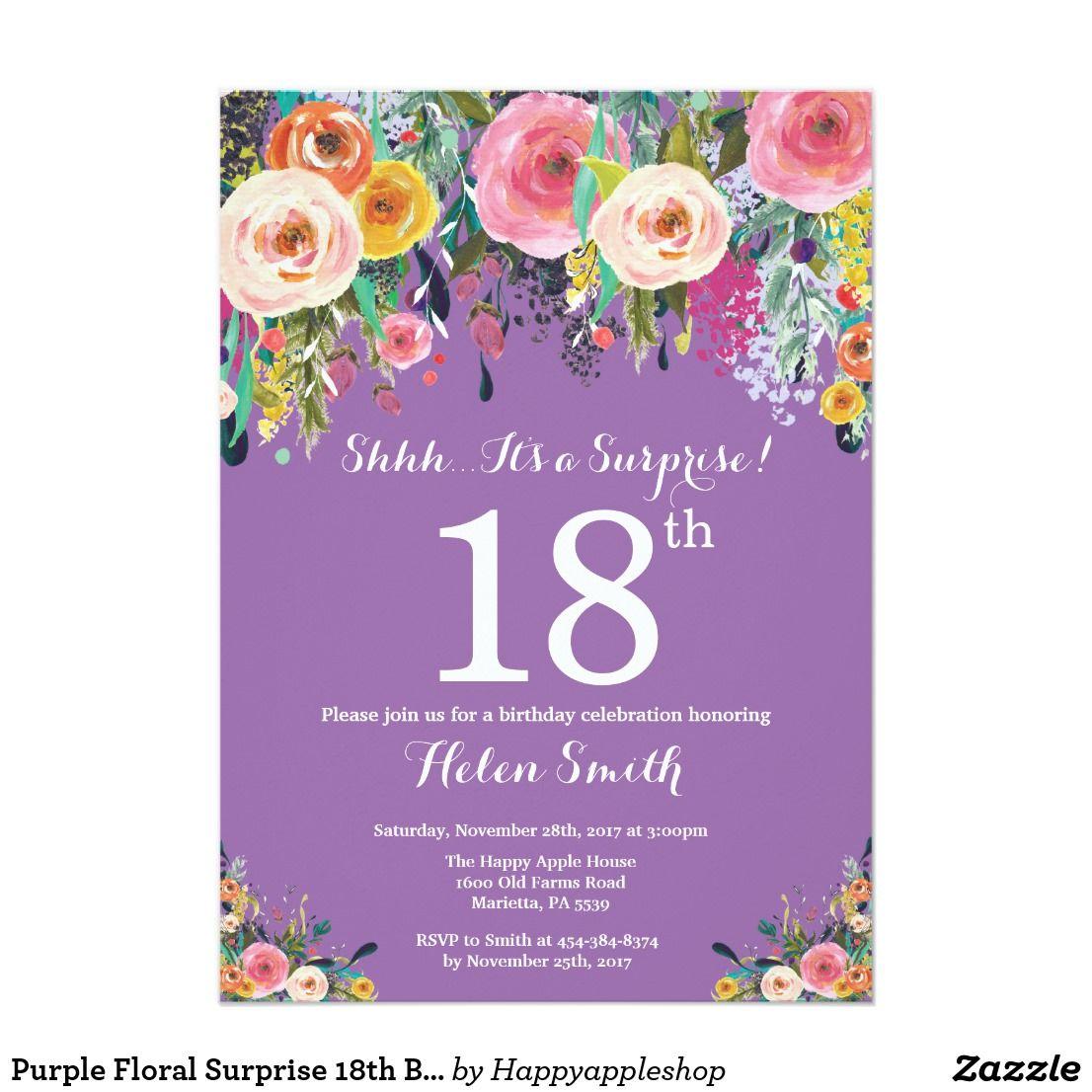 purple floral surprise 18th birthday