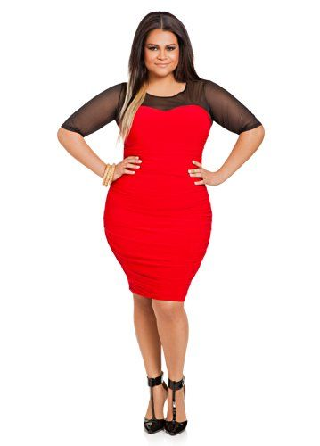 6c2723e9d1b Ashley Stewart Women s Plus Size Ruched-Waist Mesh Sweetheart Dress Red  14 16 Ashley