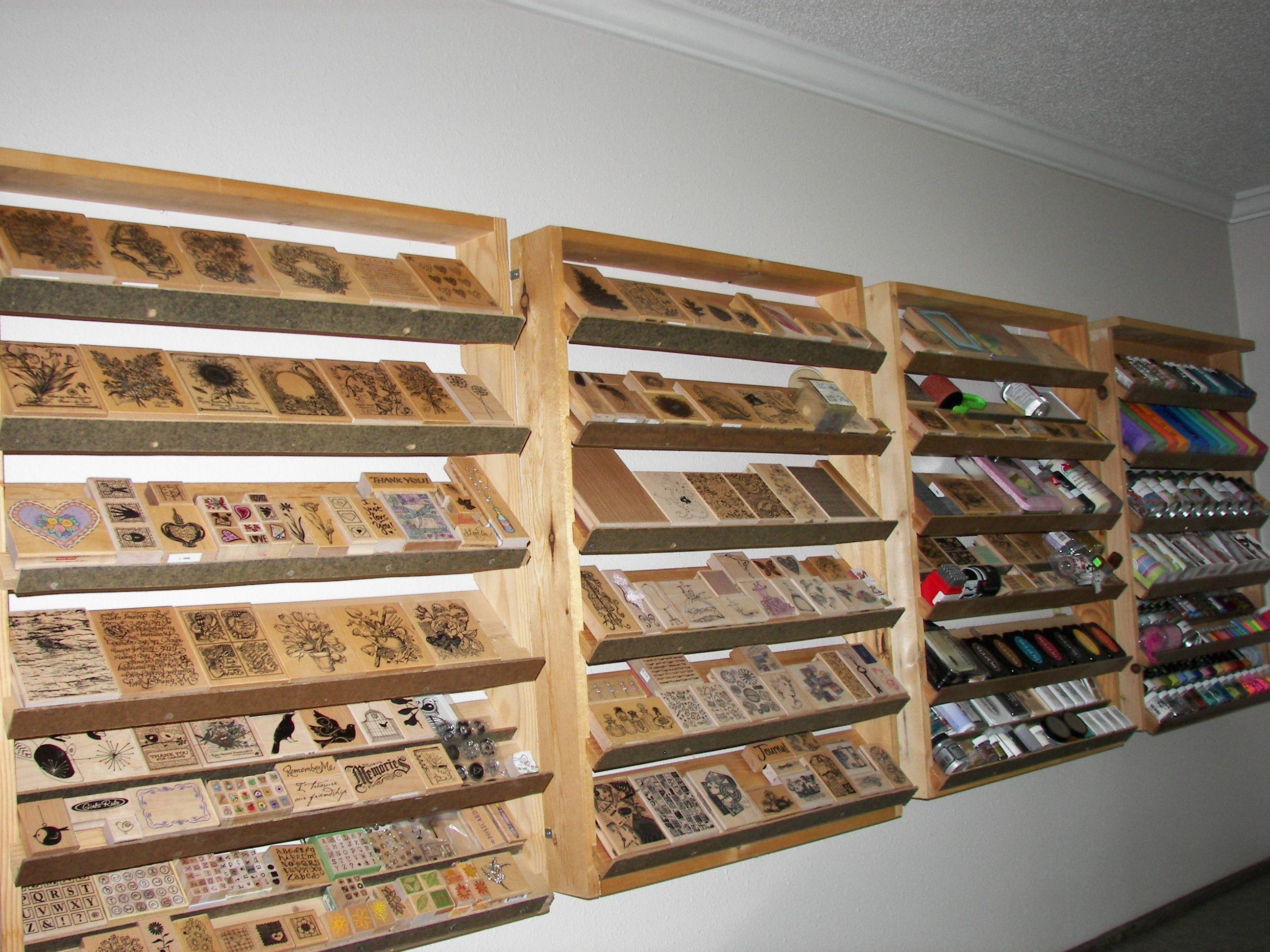 Scrapbook room storage ideas - Tilted Rubber Stamp Shelving Storage