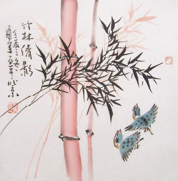 Original Art Chinese Ink Painting Bamboo Painting By Art68 Ink