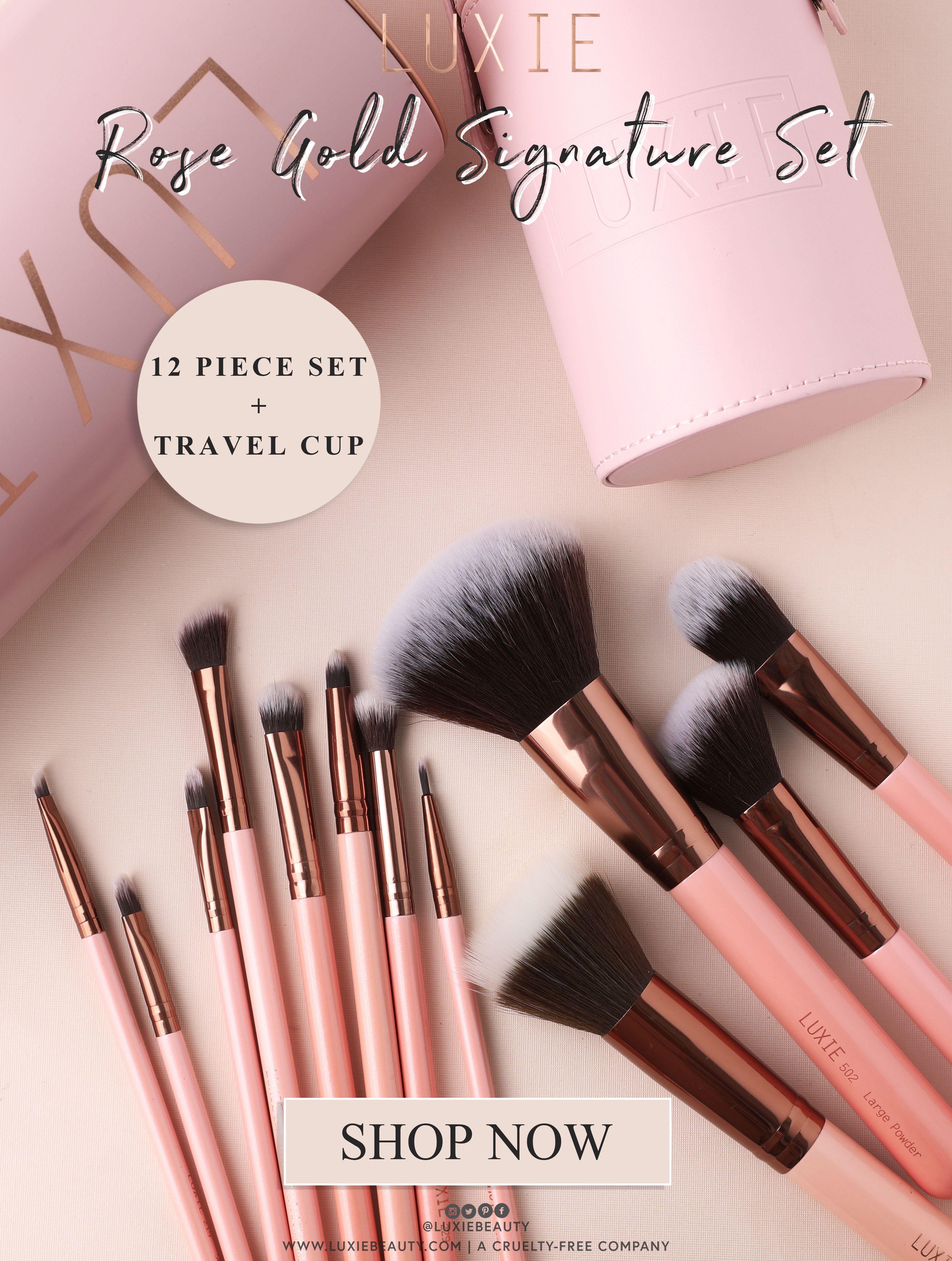 LUXIE Signature Rose Gold Brush Set Rose gold brush set
