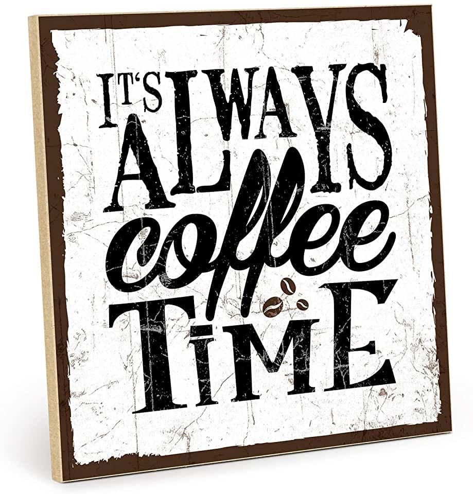 TypeStoff Holzschild mit Spruch – Coffee TIME – im Vintage Look mit Zitat als Geschenk und Dekor | findegut.de