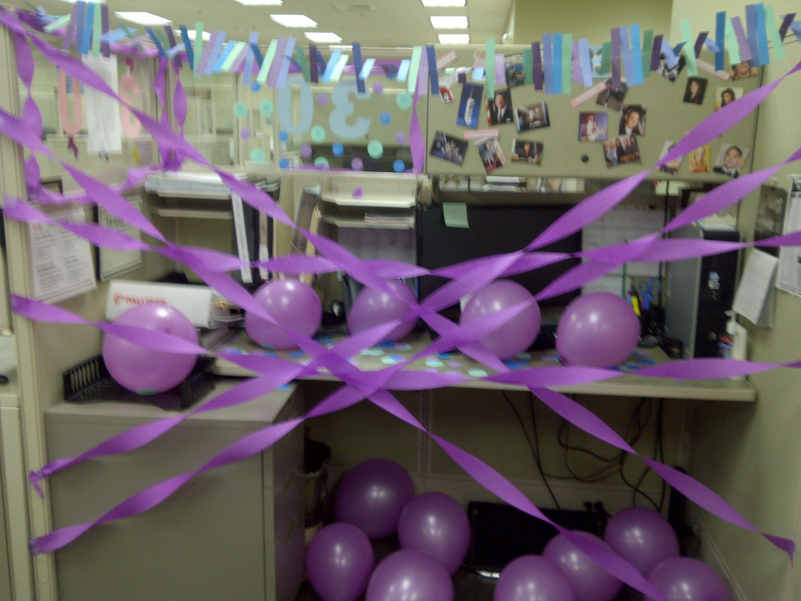 decorated all my coworkers cubicles as a surprise.htm co worker 30th birthday desk decor festeggiare pinterest  co worker 30th birthday desk decor