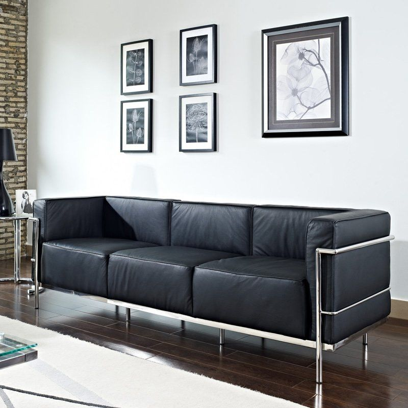 Le Corbusier Style LC3 Sofa Black, EMFURN   1