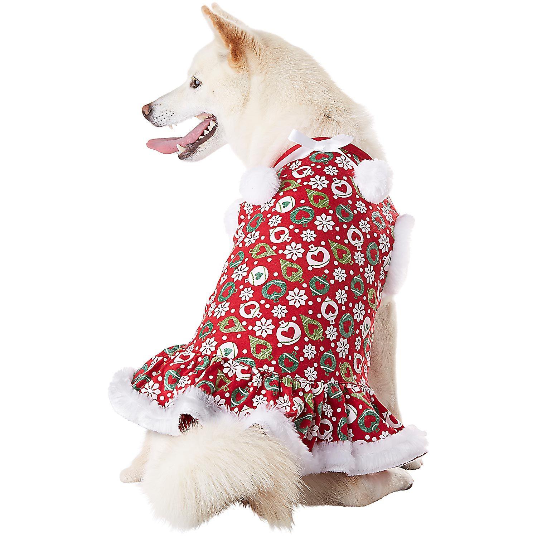 Petco Wagatude Holiday Heart Ornament Print Dog Dress