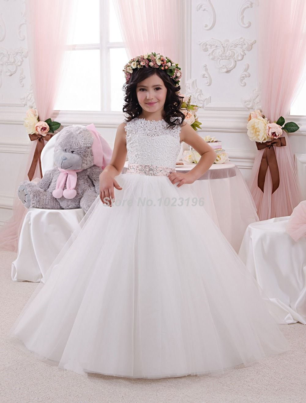 Find more flower girl dresses information about 2016 new hot pretty find more flower girl dresses information about 2016 new hot pretty ivory white appliques tulle beads izmirmasajfo Images