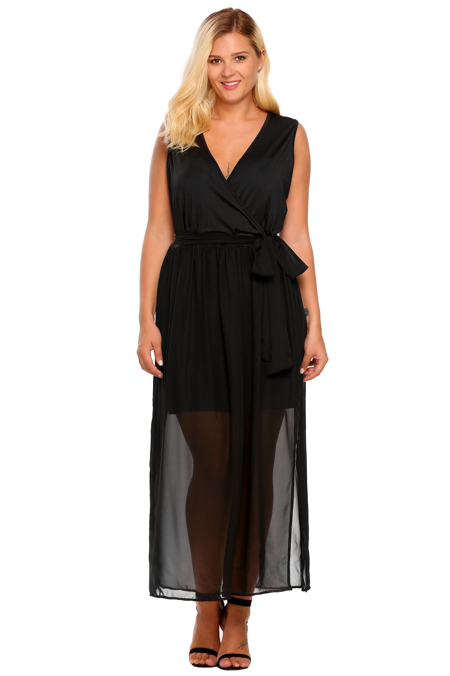 Womens Plus Size V Neck Split Chiffon Party Wedding Maxi Dress With Belt Black 5x Click Photo For More Details T Dresses Asymmetrical Dress Midi Maxi Dress [ 2250 x 1500 Pixel ]