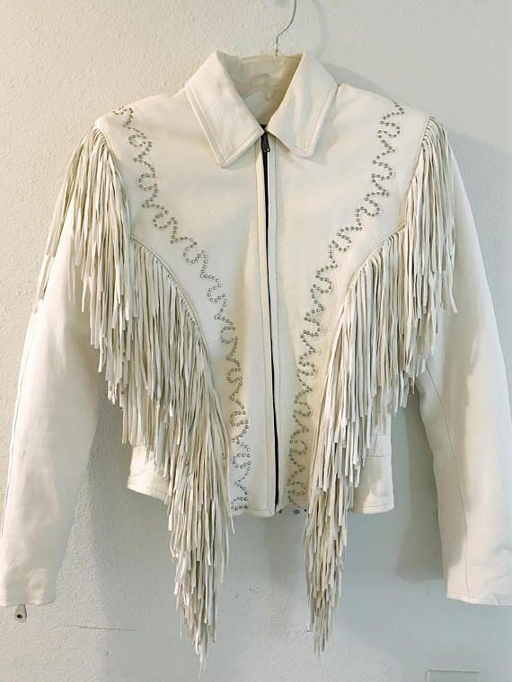 eaeaec0ea 1970s Womens Off White Leather Fringe Moto Jacket // Beige Western ...