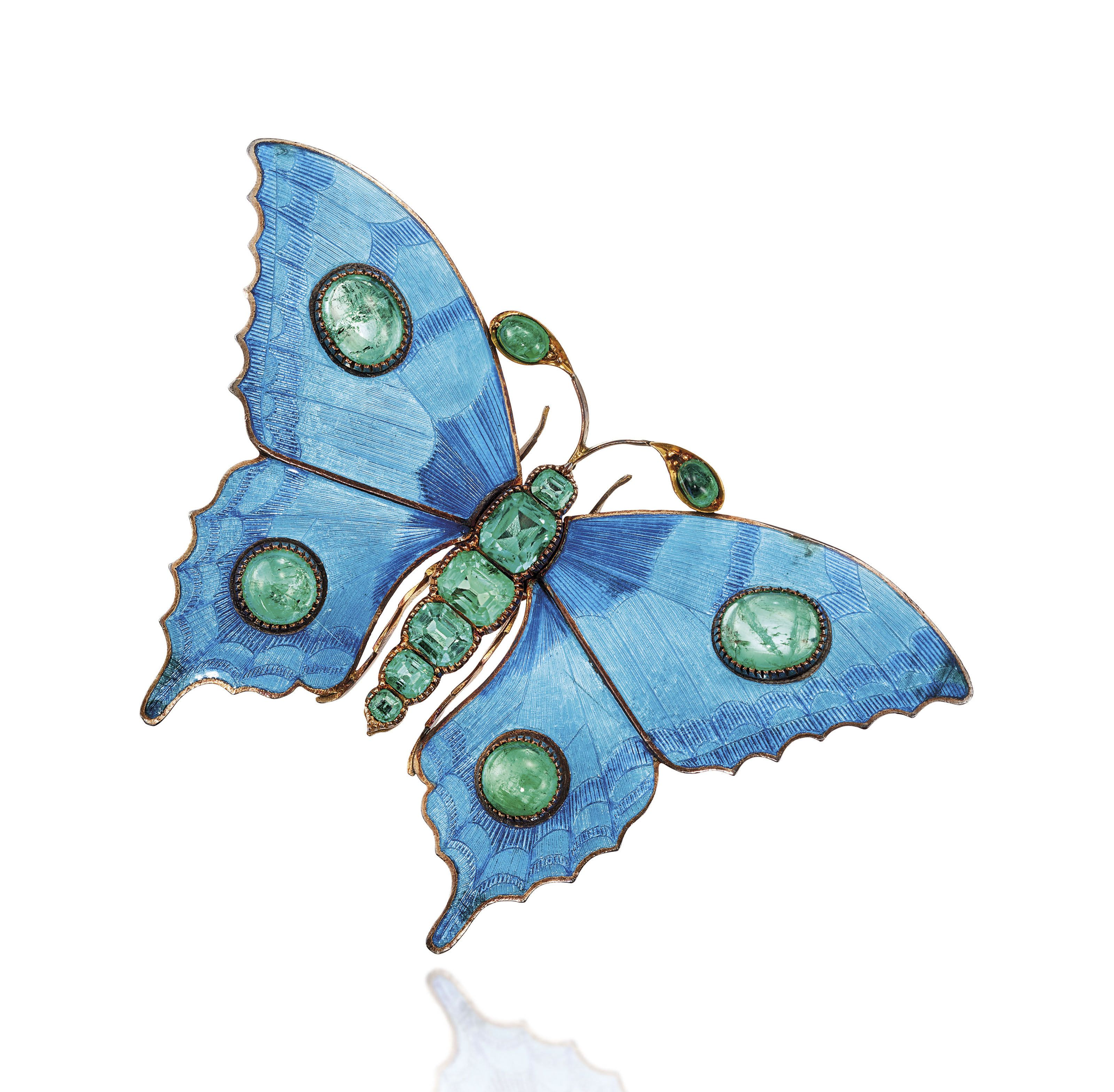 8377b5c9393 LATE 19TH / EARLY 20TH CENTURY EMERALD AND ENAMEL BUTTERFLY BROOCH, CHILD &  CHILD   late 19th Century, insects   Christie's