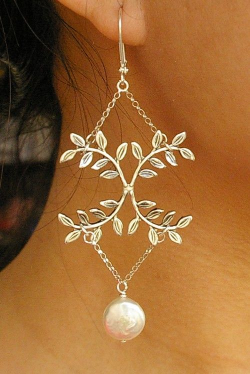 Unique leaf chandelier earrings with pearls | Desires and ...