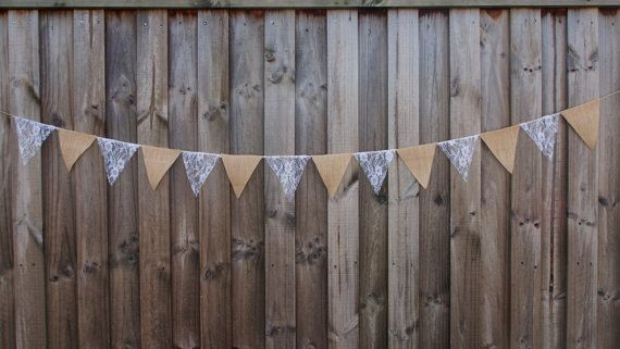 Burlap / Hessian and white lace bunting Wedding or home decorations