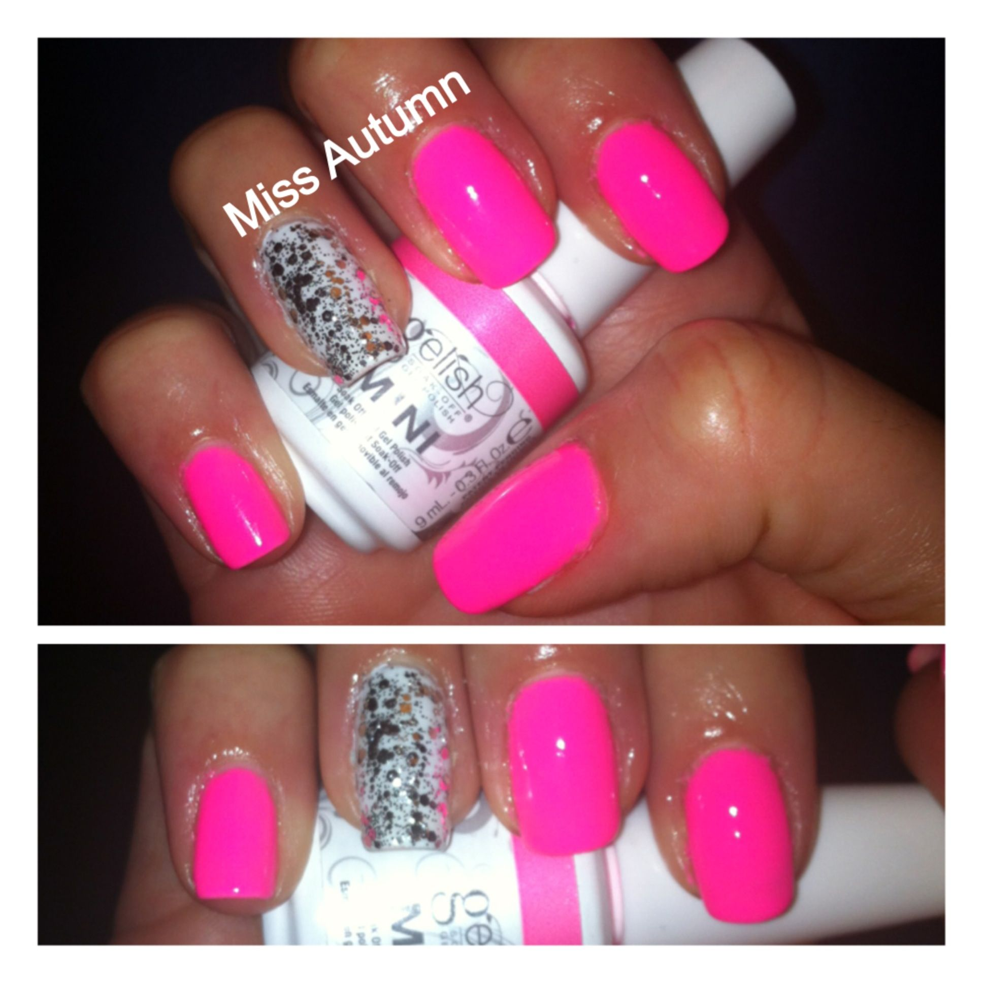 Gel Nails! Neon pink & white with chunky silver glitter! Colors ...